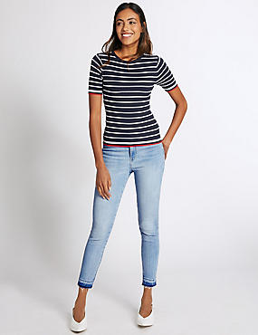 Drop Hem High Rise Skinny Leg Jeans, PALE BLUE, catlanding
