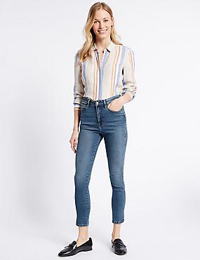 Split Hem High Rise Skinny Leg Jeans, DARK INDIGO, catlanding