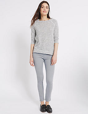 Scratch Hem High Rise Skinny Leg Jeans, LIGHT GREY, catlanding
