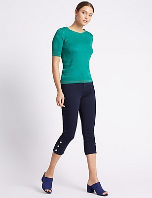 Button Hem Cropped Skinny Leg Jeans, , catlanding