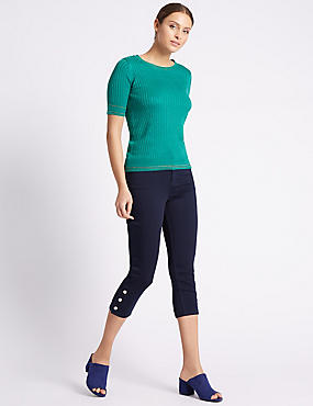 Button Hem Cropped Skinny Leg Jeans, INDIGO, catlanding