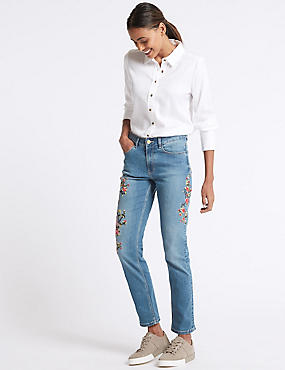 Floral Turn-up Embroidered Mid Rise Jeans, MEDIUM BLUE, catlanding