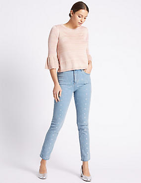 Durchgehend mit Glitzersteinen besetzte Jeans mit hohem Bund und schmalem Bein, INDIGO HELL, catlanding