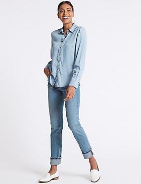 Mid Rise Relaxed Slim Jeans, MEDIUM BLUE, catlanding