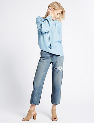 Embroidered Mid Rise Straight Leg Jeans, LIGHT INDIGO, catlanding