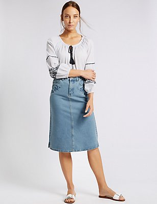 Denim Embroidered A-Line Midi Skirt, INDIGO MIX, catlanding