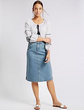 Denim Embroidered A-Line Midi Skirt, INDIGO MIX, catlanding