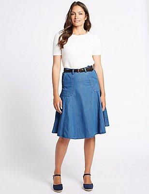 Belted Denim A-Line Midi Skirt, DENIM MIX, catlanding