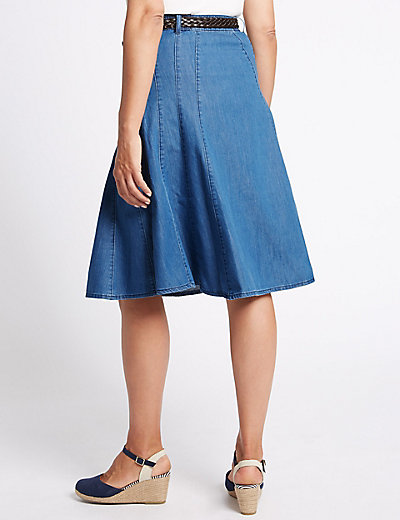 Belted Denim A-Line Midi Skirt | M&S