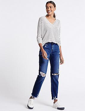 Skinny Leg Mid Rise Jeans , BLUE, catlanding