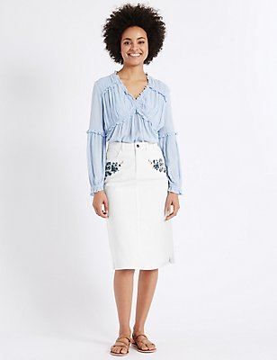 Denim Embroidered Straight Midi Skirt, WHITE MIX, catlanding
