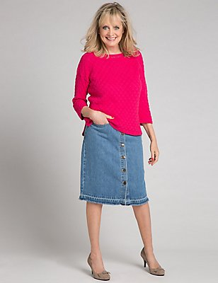 Denim A-Line Midi Skirt, DENIM MIX, catlanding