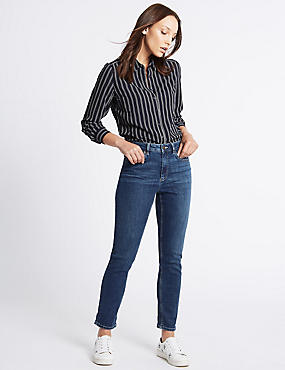 Mid Rise Slim Boyfriend Jeans, DARK INDIGO, catlanding