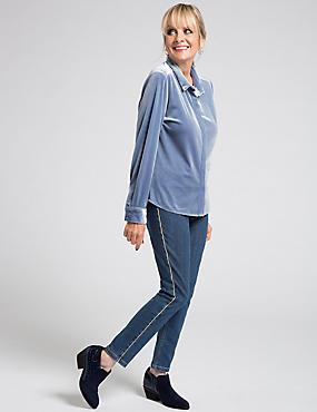 Standard Rise Skinny Leg Jeans, MEDIUM INDIGO, catlanding