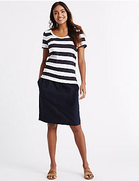 Linen Rich Straight Mini Skirt, NAVY, catlanding