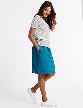 Linen Rich Straight Mini Skirt, TEAL, catlanding