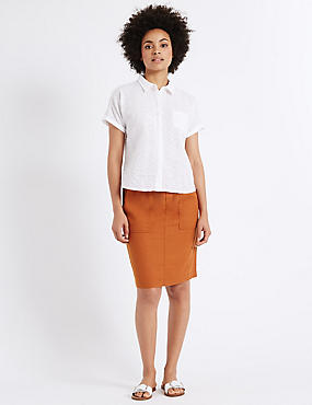 Linen Rich Straight Mini Skirt, RUST, catlanding
