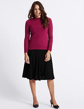 Textured A-Line Midi Skirt, BLACK, catlanding