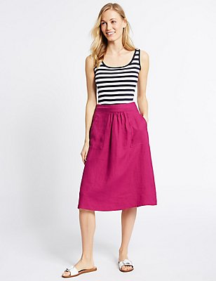 Pure Linen A-Line Midi Skirt, BERRY, catlanding