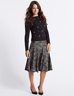 Textured A-Line Midi Skirt, BLACK MIX, catlanding