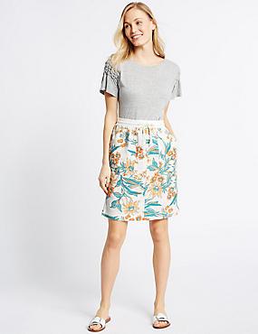 Linen Rich Floral Print Straight Midi Skirt, NATURAL MIX, catlanding
