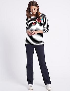 Jeans met roma-taille en rechte pijpen, DONKER INDIGO, catlanding