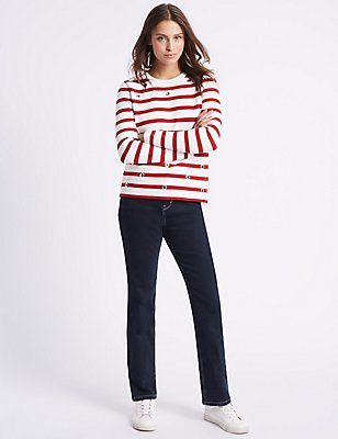 High Rise Cropped Leg Jeans, INDIGO, catlanding