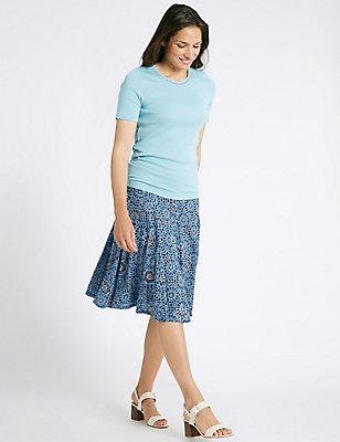 Cotton Blend Floral Print A-Line Midi Skirt, NAVY MIX, catlanding