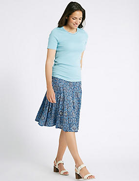 Cotton Blend Floral Print A-Line Midi Skirt, NAVY MIX, catlanding