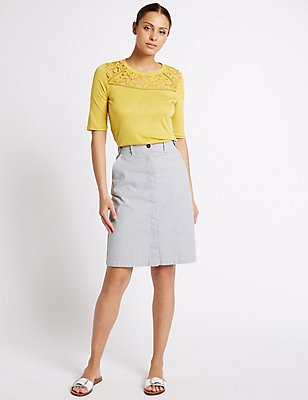 Cotton Rich Striped Straight Midi Skirt, NAVY MIX, catlanding