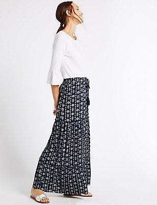 Printed Straight Maxi Skirt, NAVY MIX, catlanding