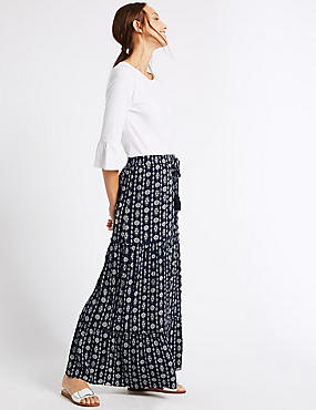 Printed Straight Maxi Skirt, NAVY MIX, catlanding