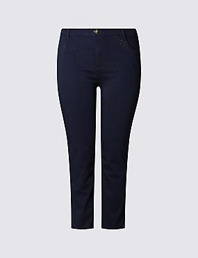 PLUS– Pantacourt en jean, INDIGO, catlanding