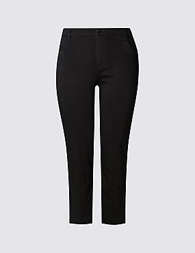 PLUS - Korte jeans, ZWART, catlanding