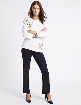 Embellished Straight Leg Jeans, INDIGO, catlanding