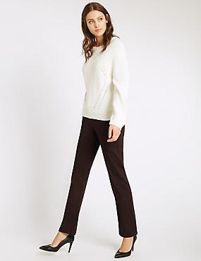 Bling Straight Leg Jeans, CHOCOLATE, catlanding