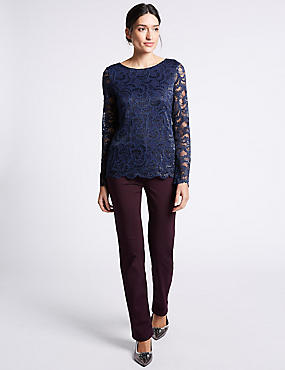 Bling Straight Leg Jeans, DARK GRAPE, catlanding