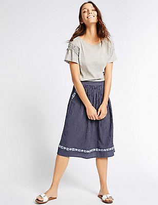 Cotton Blend Striped A-Line Midi Skirt, NAVY STRIPE, catlanding