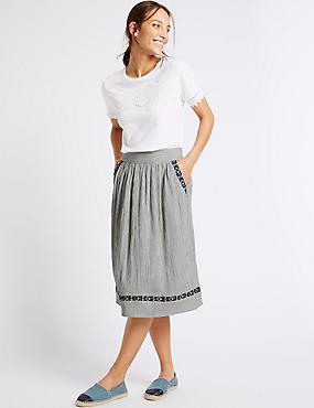 Cotton Blend Striped A-Line Midi Skirt, WHITE MIX, catlanding