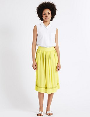 Pleated A-Line Midi Skirt, YELLOW, catlanding