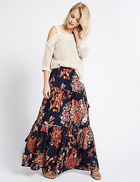 Floral Print Straight Maxi Skirt, MULTI, catlanding