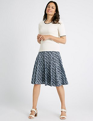 Cotton Blend Burnout A-Line Midi Skirt, NAVY STRIPE, catlanding