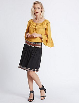 Mirror Embroidered A-Line Mini Skirt, BLACK MIX, catlanding