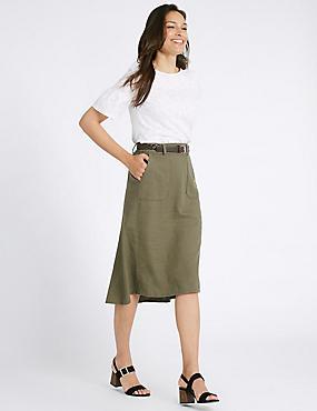 Linen Rich Belted Dipped Hem Midi Skirt, KHAKI, catlanding
