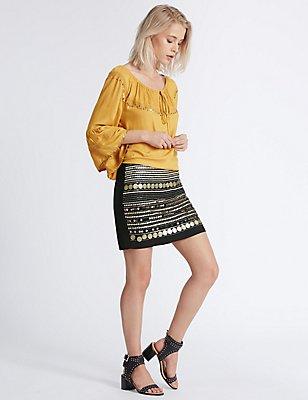 Coin Detail Mini Skirt, BLACK MIX, catlanding