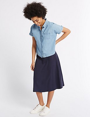 Pure Cotton A-Line Midi Skirt, NAVY MIX, catlanding