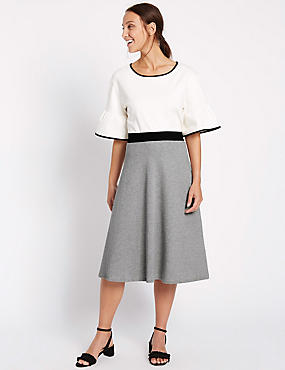 Pure Cotton Midi Skirt, GREY MIX, catlanding