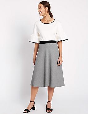 Pure Cotton A-Line Midi Skirt, GREY MIX, catlanding