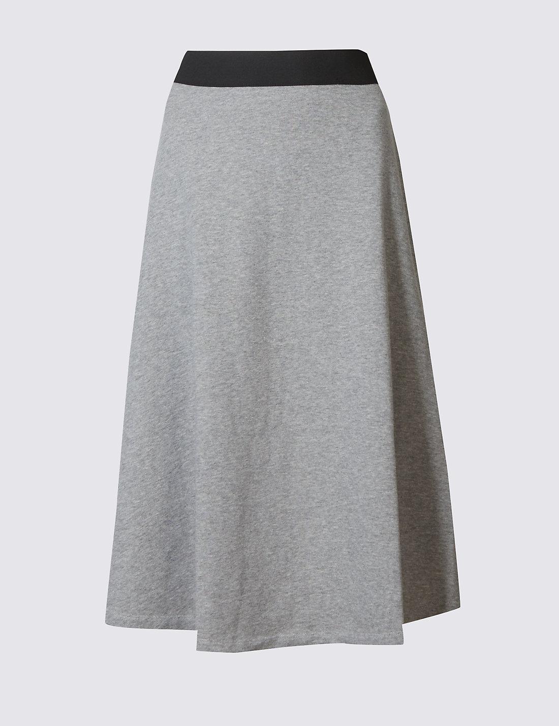 Pure Cotton A-Line Midi Skirt   M&S