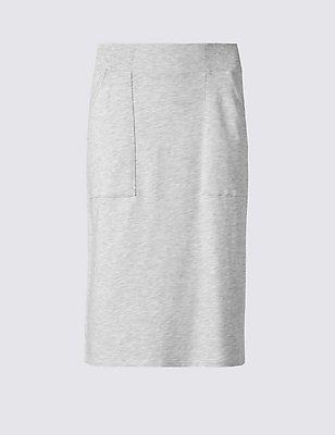Cotton Rich Striped Pencil Midi Skirt, OATMEAL, catlanding